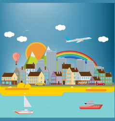 city background with sea vector image