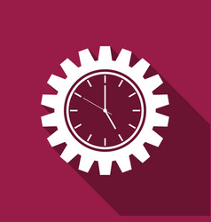 clock gear icon isolated with long shadow vector image