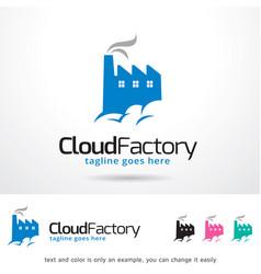 Cloud factory logo template vector
