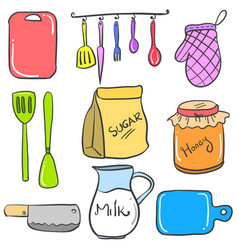 Collection stock of kitchen accessories doodles vector