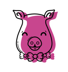 Color cute pig female wild animal vector