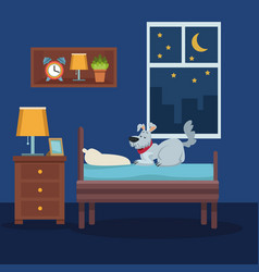 Colorful scene pet dog over bed in room at night vector
