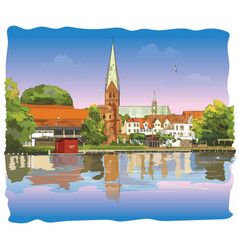 colorful view on church of st mary in lubeck vector image