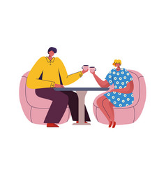 couple in cafe cartoon man and woman sitting at vector image