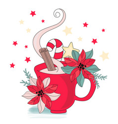 Cup of new year merry christmas vector