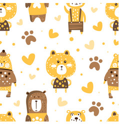 cute adorable brown bears seamless pattern vector image