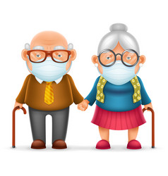 cute elderly couple grandfather grandmother vector image