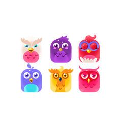 cute funny birds set colorful glossy birdies vector image