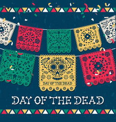 Day dead mexican papercut skull card vector