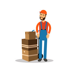 Delivery man with cardboard boxes on a trolley vector