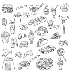 Doodle icon fast food vector