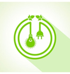 eco bulb with electric plug and leaf vector image vector image