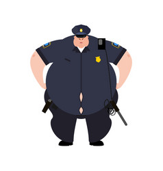 Fat cop thick policeman obese officer police vector