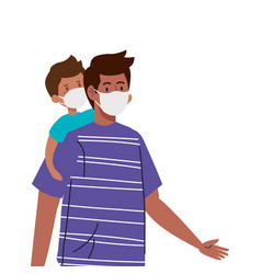 Father and son wearing protective medical mask for vector