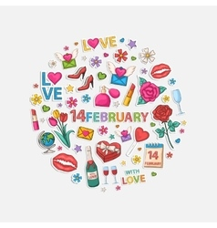 February set in circle vector image
