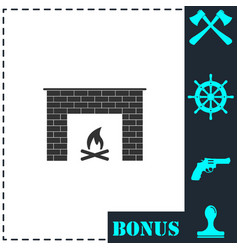 fireplace icon flat vector image