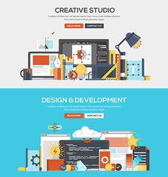 Flat design concept banner Creative studio and vector image
