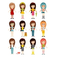 Funny cartoon girls cute female young woman happy vector image
