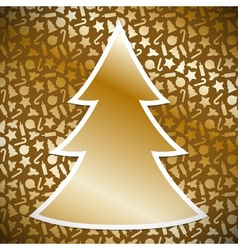 Gold Christmas tree on background with christmas vector image
