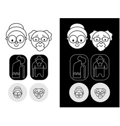 grandmother and grandfather a set of icons vector image