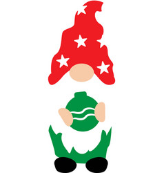 happy christmas gnome with christmas decoration vector image
