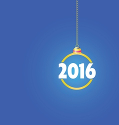 happy new year 2016 color ball blue vector image