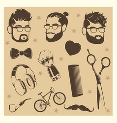 hipster elements set - male heads scissors vector image