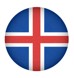 iceland flag in circle shape isolated buttom of vector image