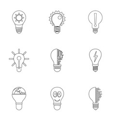 idea bulb icons set outline style vector image