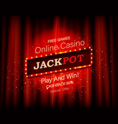 jackpot retro banner with burning lamps vector image