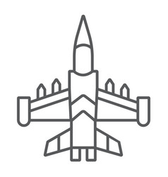 Jet fighter thin line icon army and force vector