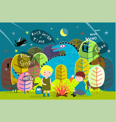 kids camping forest fire with dragon vector image