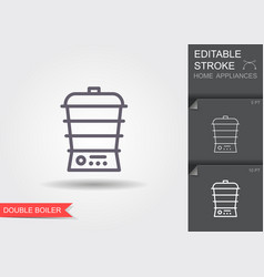 kitchen steam cooker line icon with editable vector image