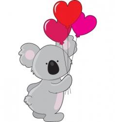 koala heart balloons vector image