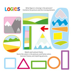 logic kid combine picture game printable template vector image