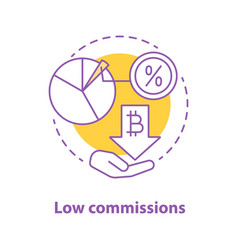 Low commissions concept icon vector