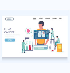 Lung cancer website landing page design vector