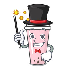 Magician raspberry bubble tea character cartoon vector