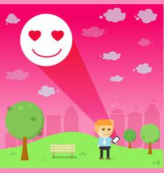 Man through the emotional love resonance on vector