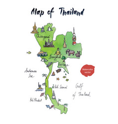 Map of thailand watercolor vector