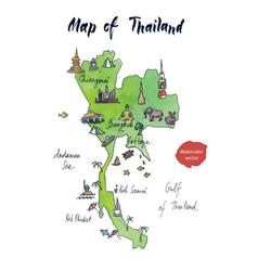 map thailand watercolor vector image