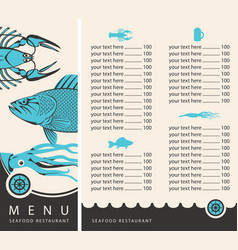 menu for seafood restaurant with price list vector image