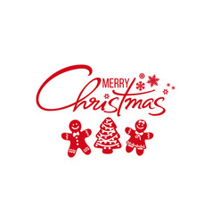merry christmas handwritten text red silhouette vector image