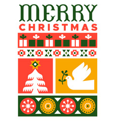 merry christmas modern flat xmas folk art card vector image