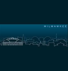 Milwaukee multiple lines skyline and landmarks vector