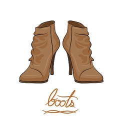 Modern fashion brown boots vector