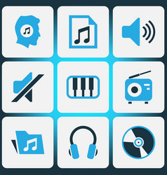 Music colored icons set collection of music lover vector