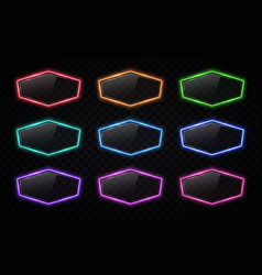 neon signs collection in hexagon shape with shiny vector image