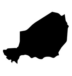 Niger - solid black silhouette map of country area vector