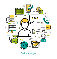 Online manager - line round concept vector